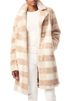 Bernardo Check Teddy Faux Fur Coat