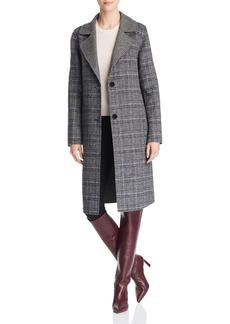 Bernardo Contrast Collar Plaid Coat