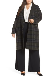 Bernardo Double Breasted Plaid Coat (Plus Size)