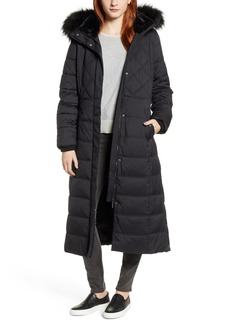 Bernardo Faux Fur Trimmed Hooded Long Quilted Coat