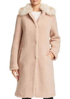 Bernardo Faux Shearling Coat with Faux Fur Collar