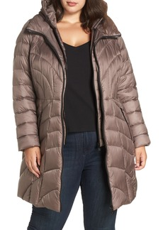 Bernardo Glossy Hooded Walker Coat (Plus Size)