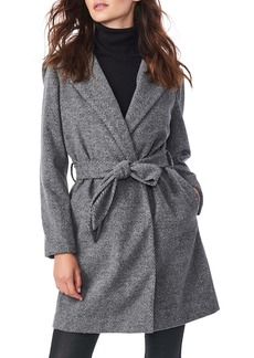 Bernardo Herringbone Belted Hooded Wrap Coat