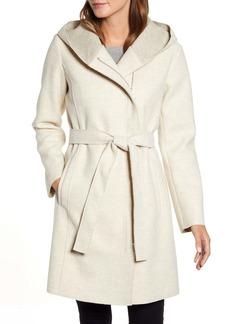 Bernardo Hooded Faux Wrap Coat