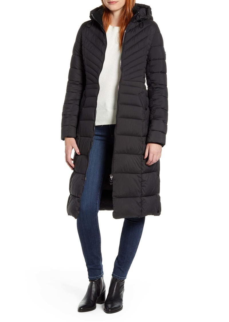 Bernardo Hooded Long Quilted Coat