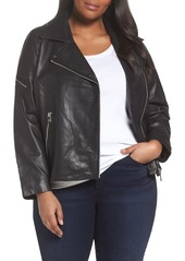 Bernardo Kirwin Leather Moto Jacket (Plus Size)