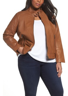 Bernardo Kirwin Leather Moto Jacket (Plus Size)