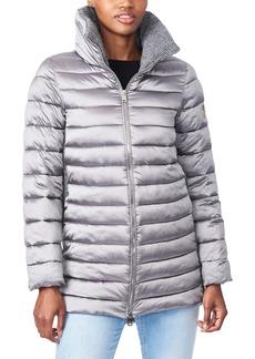 Bernardo Knit Detail EcoPlume™ Packable Puffer Coat