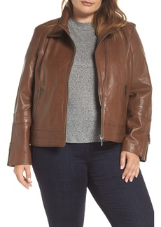 Bernardo Lambskin Leather Moto Jacket (Plus Size)