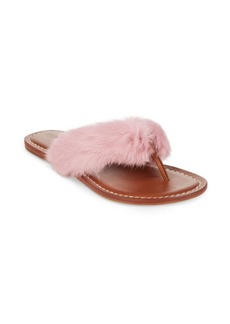 Bernardo Leather & Rabbit Fur Flip Flops