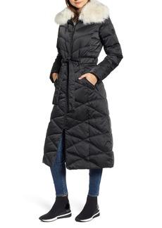 Bernardo Maxi Heavy Puffer Jacket with Faux Fur Trim