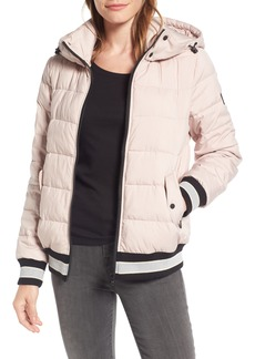 Bernardo Micro Touch Hooded Quilted Bomber Jacket