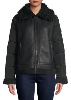 Bernardo Mixed-Media Faux Shearling-Trimmed Jacket