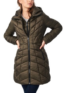 Bernardo Mixed Quilt Ecoplume™ Packable Hooded Puffer Jacket