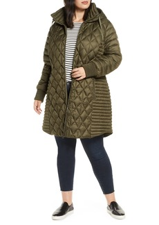 Bernardo Multi Quilt Packable Hooded Puffer Coat (Plus Size)