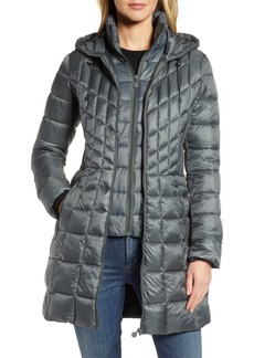 Bernardo Packable Hooded PrimaLoft® Fill Coat with Contrast Inset Bib (Online Only)