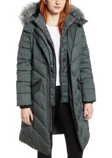 Bernardo Puffer Jacket with Faux Fur Trim
