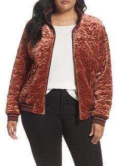 Bernardo Quilted Velvet Bomber Jacket (Plus Size)