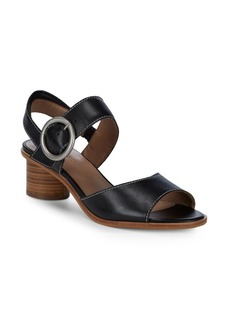 Stacked Heel Leather Sandals