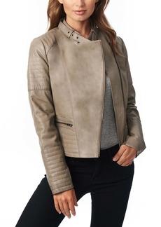 Bernardo Stitch Detail Sheepskin Leather Moto Jacket