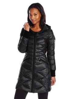 Bernardo Women's Packable Down Water Repellent Coat With Side Panels