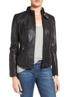 Bernardo Zip Front Leather Biker Jacket (Regular & Petite)