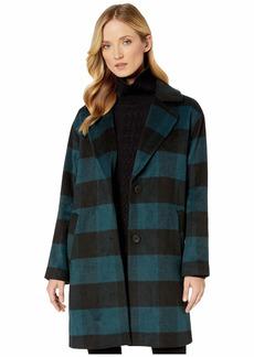 Bernardo Buffalo Plaid Wool Single Breasted Wool Coat
