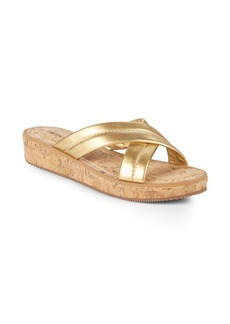 Bernardo Crisscross Leather Wedge Sandals