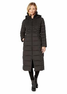 Bernardo EcoPlume Maxi Coat w/ Side Vent Zippers