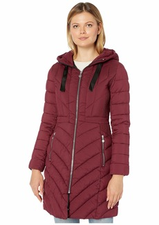 Bernardo EcoPlume Soft Touch Walker Packable Puffer Jacket with Ribbon Detail