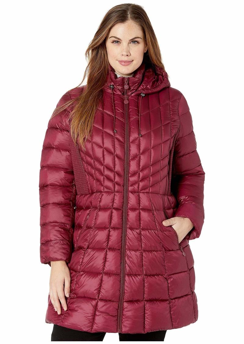 Bernardo Plus Size EcoPlume Bib Hooded Walker Puffer Coat