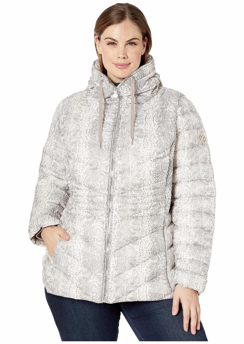 Bernardo Plus Size EcoPlume Printed Packable Puffer Jacket