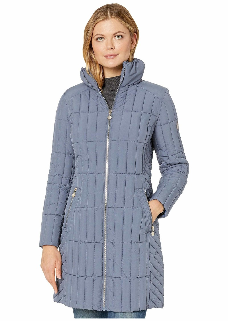 Bernardo Quilted Channel Walker with Knit Collar