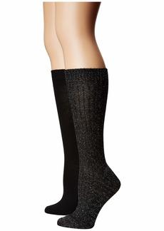 Betsey Johnson 2-Pack Lurex Slouchy Boot Socks