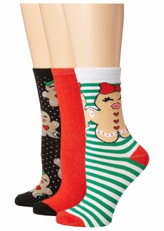 Betsey Johnson 3-Pack Christmas Crew Socks