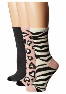 Betsey Johnson 3-Pack Holiday Crew Socks Animal Print Gift Box