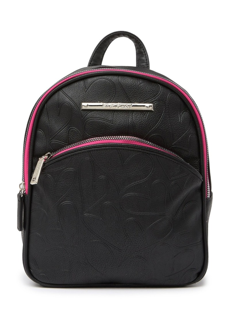 Betsey Johnson Embossed Leopard Print Bow Strap Backpack