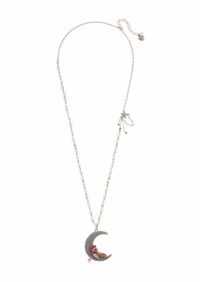 Betsey Johnson Bear Moon Long Pendant Necklace
