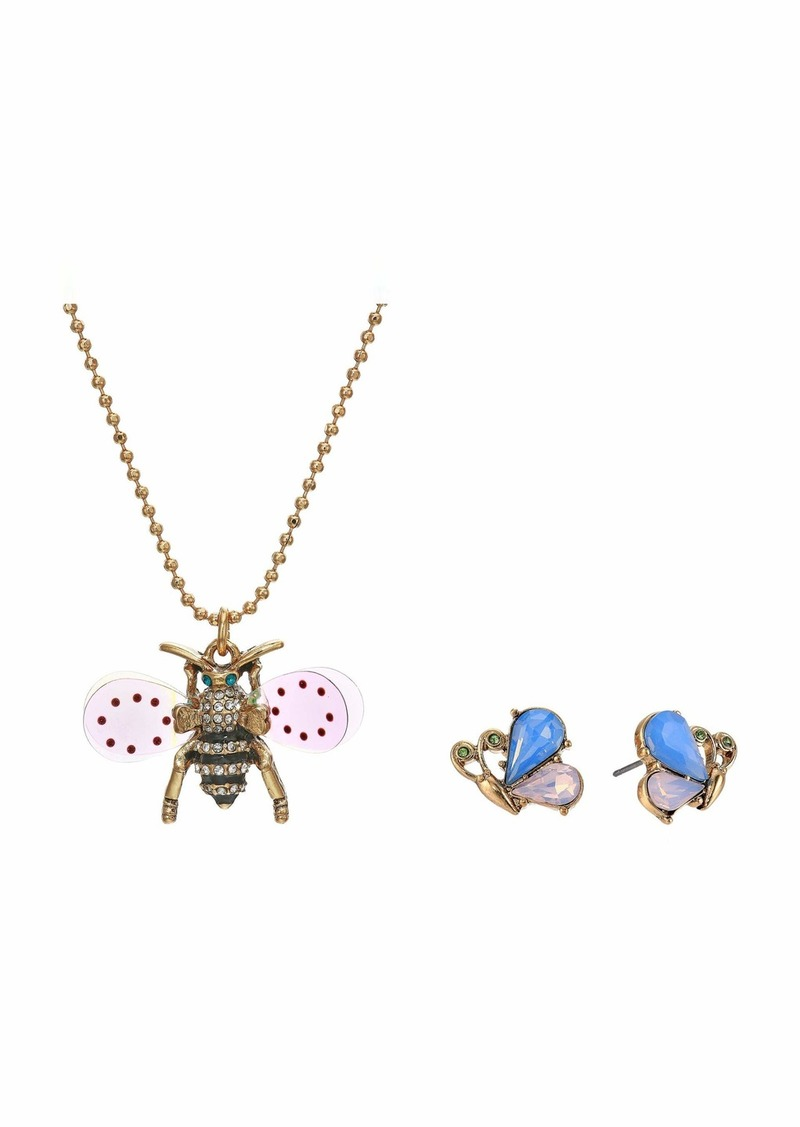 Betsey Johnson Bee Necklace and Earrings Set