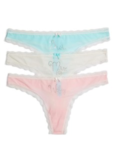 Betsey Johnson 3-Pack Bridal Thongs
