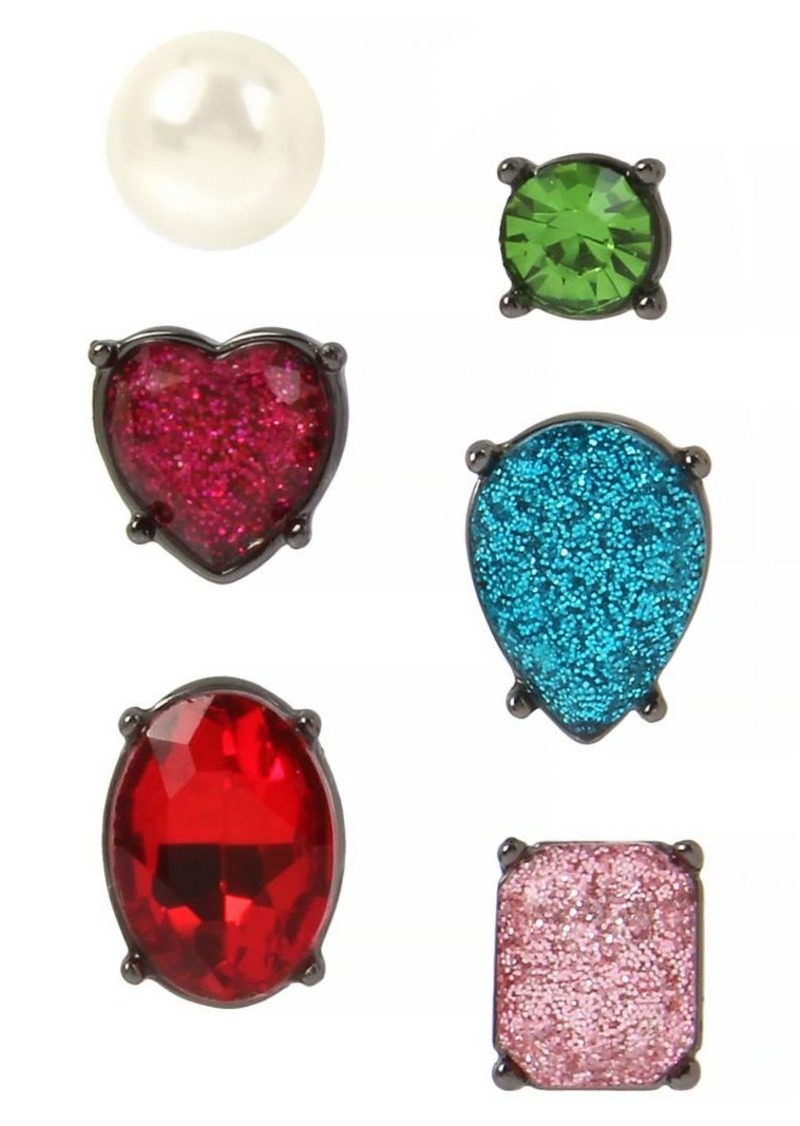 Betsey Johnson 3-Pairs Multicolored Crystal & Faux Pearl Stud Earrings