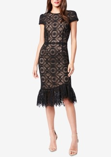 Betsey Johnson Allover-Lace Ruffle-Hem Midi Dress