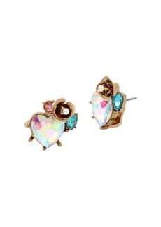 Betsey Johnson Angel Crystal Heart, Faux Pearl and Rose Cluster Stud Earrings