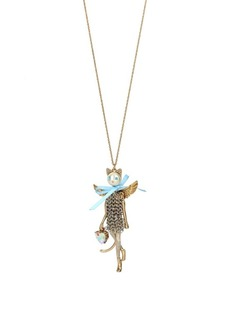Betsey Johnson Angels Crystal Cat Pendant Necklace