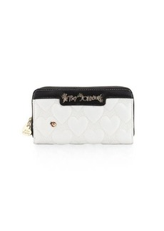 Betsey Johnson Bee Mine Heart-Quilted Wallet