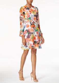 Betsey Johnson Bell-Sleeve Floral-Print A Line Dress