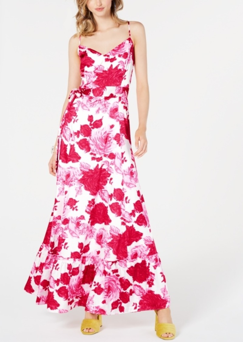Betsey Johnson Belted Floral-Print Maxi Dress