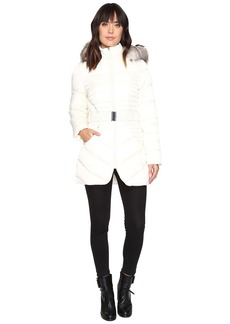 Betsey Johnson Belted Puffer w/ Fur Hood