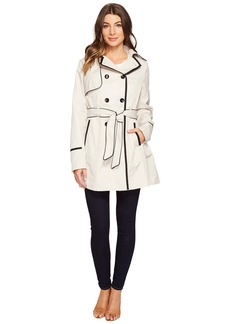 Betsey Johnson Belted Trench Coat with Contrast Piping