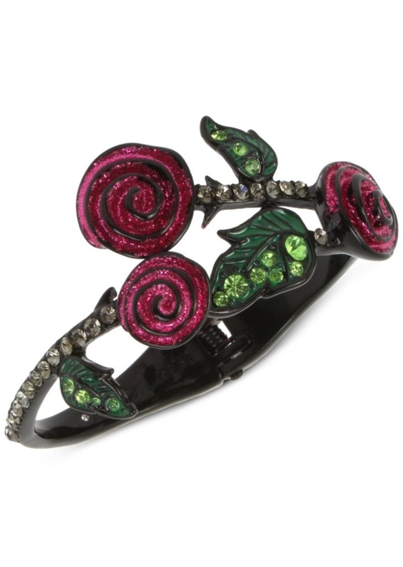 Betsey Johnson Black-Tone Pave Leaf & Glitter Rose Bangle Bracelet